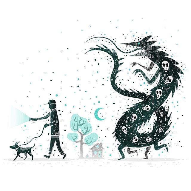 When I walk at night. . . . #horrorart #💀 #lowbrowart #darkartist #darkart #lowbrowartist #brutsubmission #brooklynsnobs