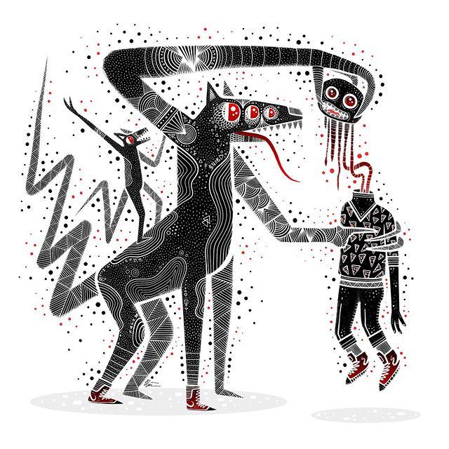 A demon's greeting. . . . #horrorart #darkart #occultart #darkartist #lowbrowart #lowbrowartist #brutsubmission #brooklynsnobs