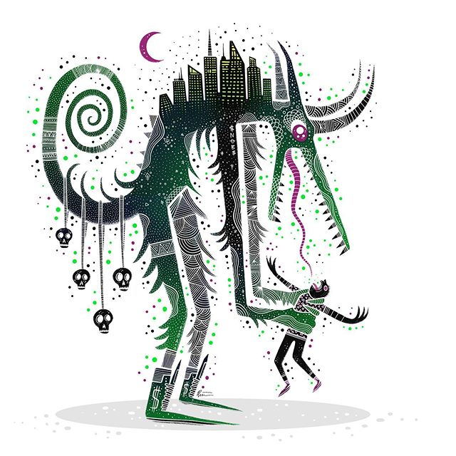 Metropolis Monster. . . . #👹 #horrorart #lowbrowart #darkartist #darkart #lowbrowartist #brutsubmission #brooklynsnobs