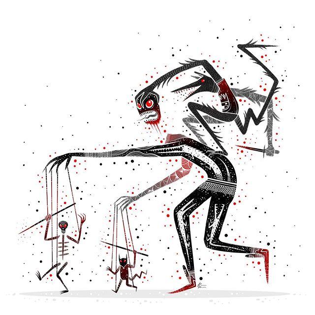 Killing the Control. . . . #horrorart #👹 #darkartist #darkart #lowbrowart #lowbrowartist #brutsubmission #brooklynsnobs