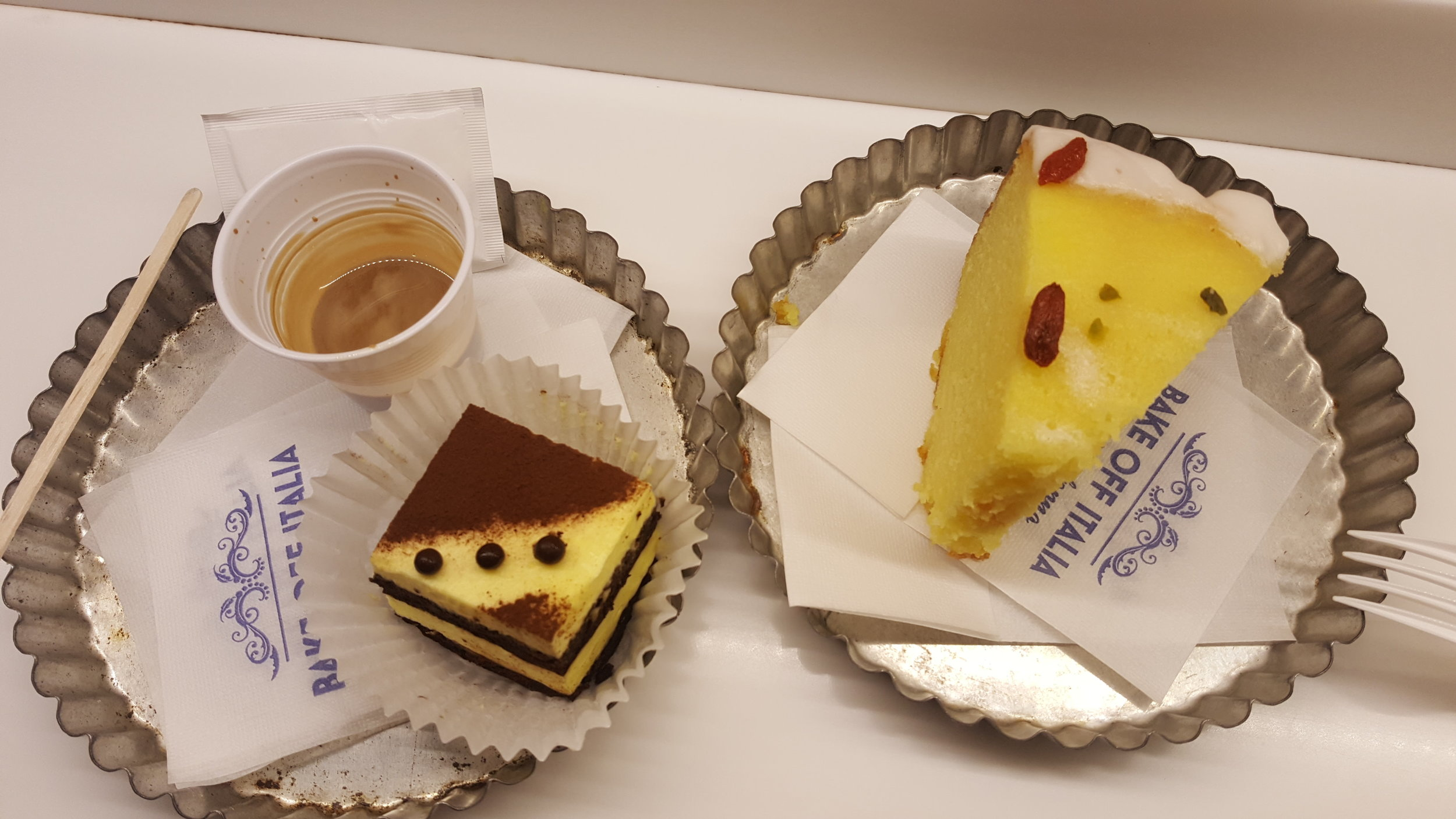 A beautiful lemon cake and tiramisu from MADE Creative Bakery.  Served in fluted tart tins... so cute!