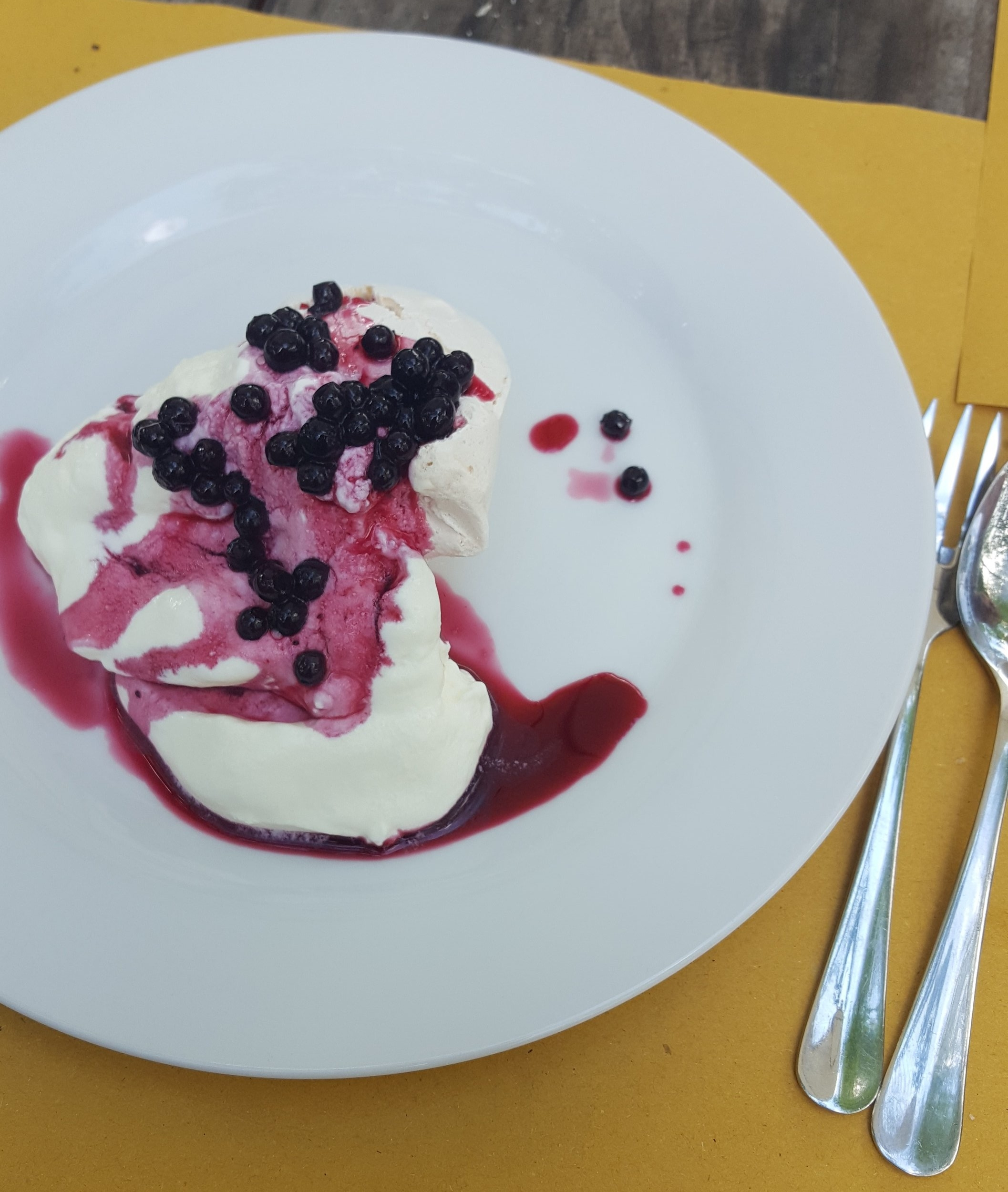 A perfect lunch dessert at Dondoli.  Meringue, cream and fresh wild blueberries!