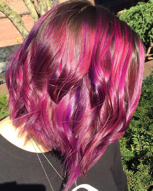 💕💜💕 . . . #pulpriot #colorfulhair #twilighthairsalon #springhaircolor #bostonhairstylist #pinkandpurplehair
