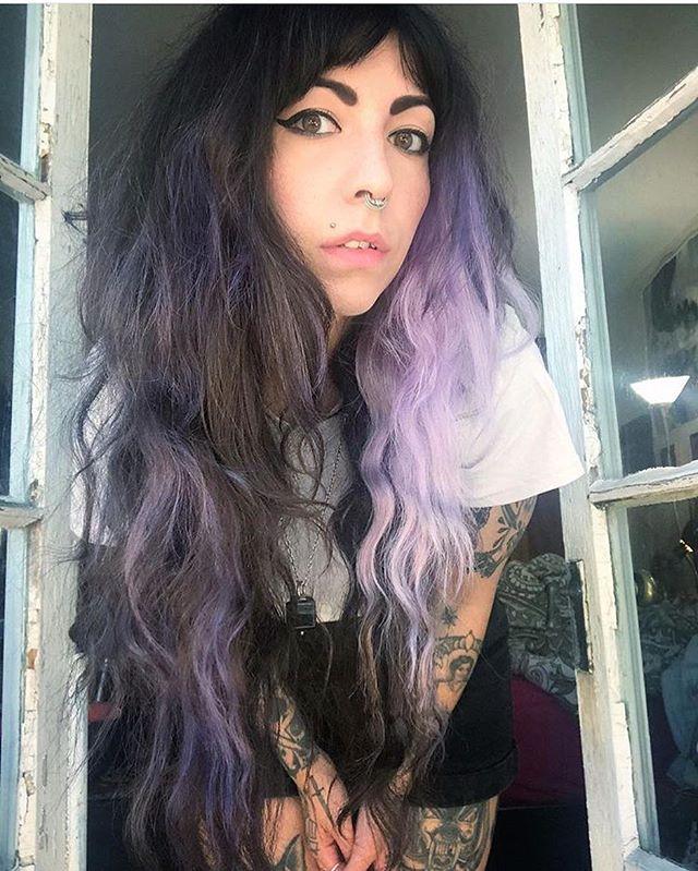 Hazy Violet for this fellow Virgo babe!!! ✨💜♍️🖤🔮💜✨ . . . #violethair #longhair #virgoseason #twilighthairsalon #sarahmillerhair #bostonhairstylist #bostonhair #lavenderhair
