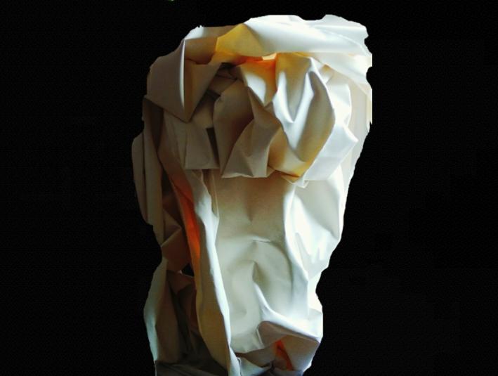 Título: Rocas de la Pedriza Cabeza de Caballo    Medidas: 150 x 140 x 100 cm.  Materiales: Papel Arches forjado