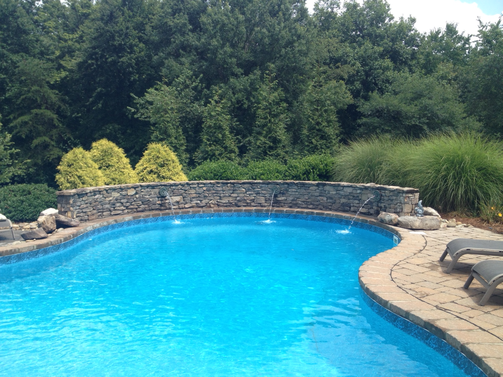Pool Deck and Water Feature- 3D Landscape Design Summerfield, NC