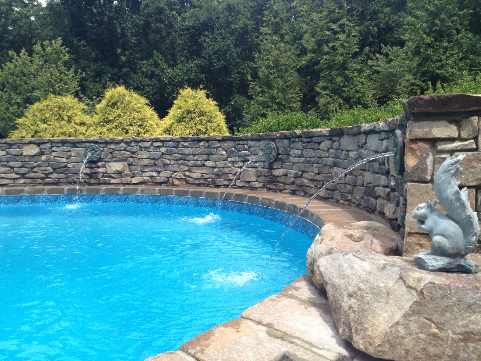 New Pool Deck and Water Feature-3D landscape Design Summerfield, NC