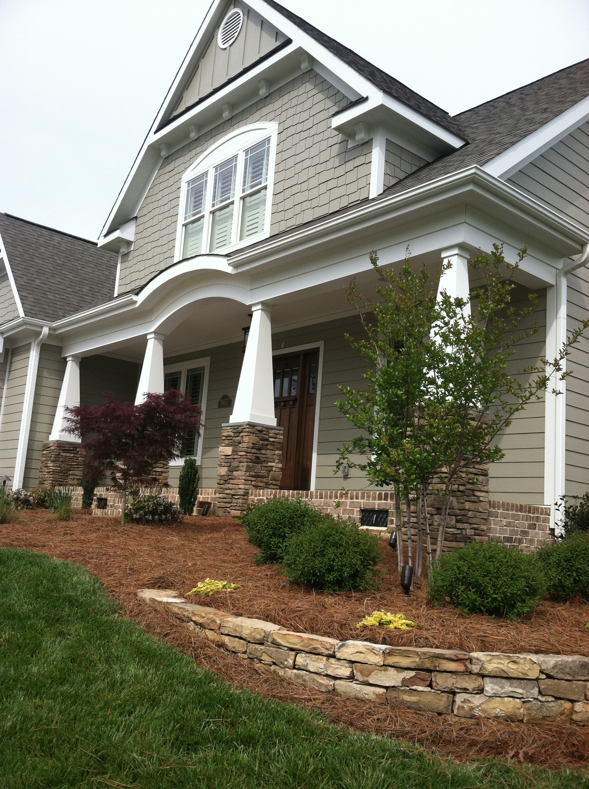 Front Foundation Plantings- 3D Landscape Design Winston-Salem, NC