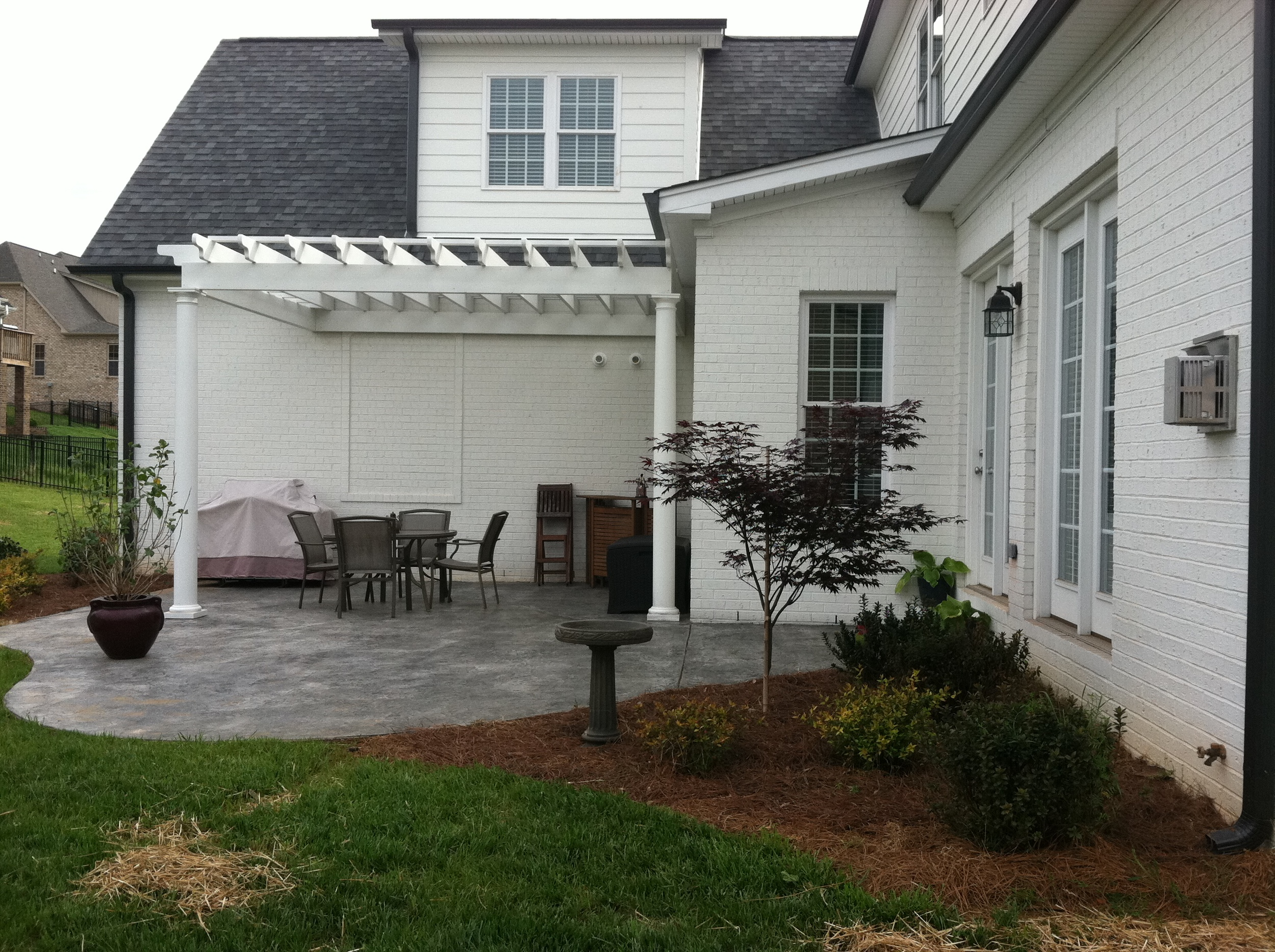 New Back Patio and Pergola- 3D Landscape Design Winston-Salem, NC