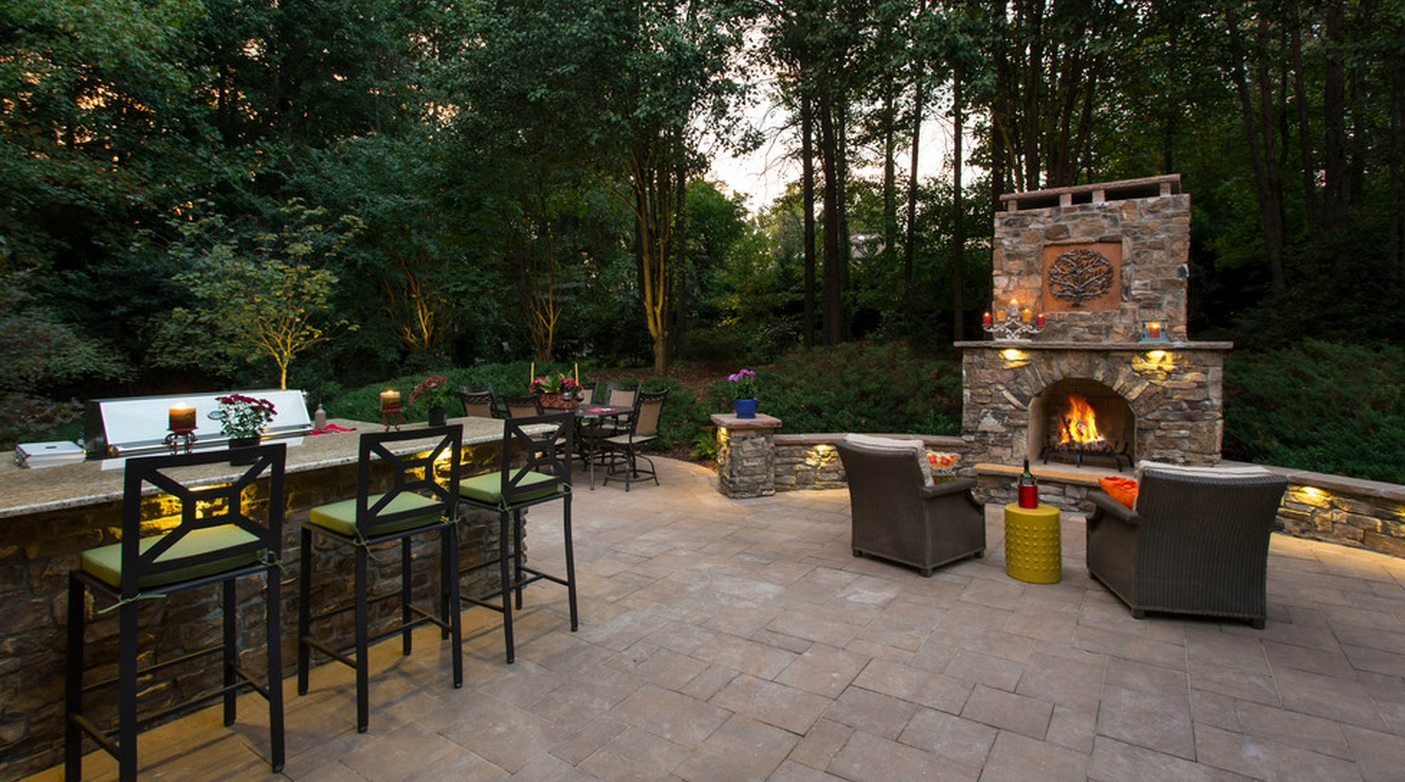 Outdoor Fireplace- 3D Landscape Design Greensboro, NC