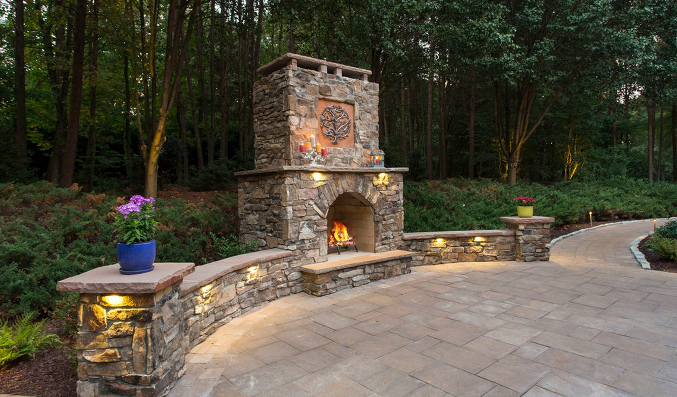 Outdoor Stone Fireplace- 3D Landscape Design Greensboro, NC