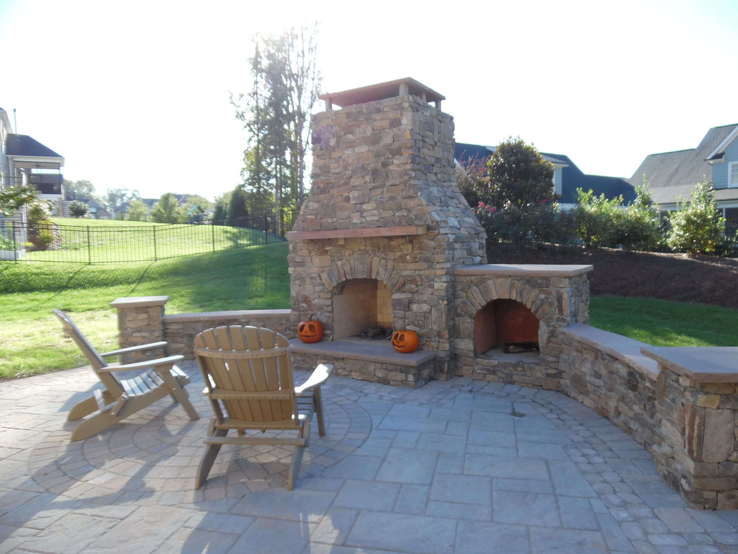 Outdoor Stone Fireplace and Woodbos- 3D Landscape Design Winston Salem, NC