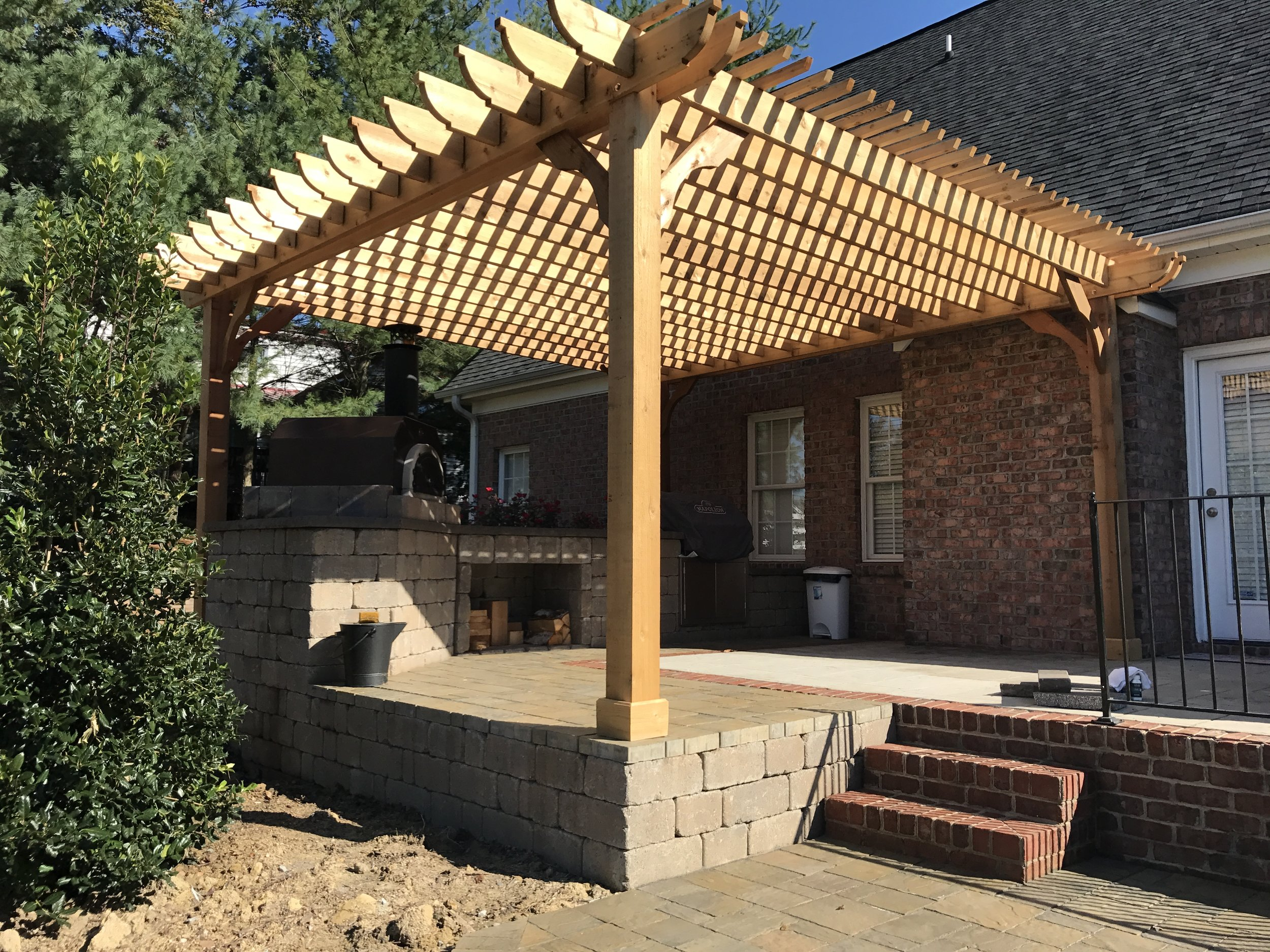 New Raised Patio and Pergola- 3D Landscape Design High Point, NC
