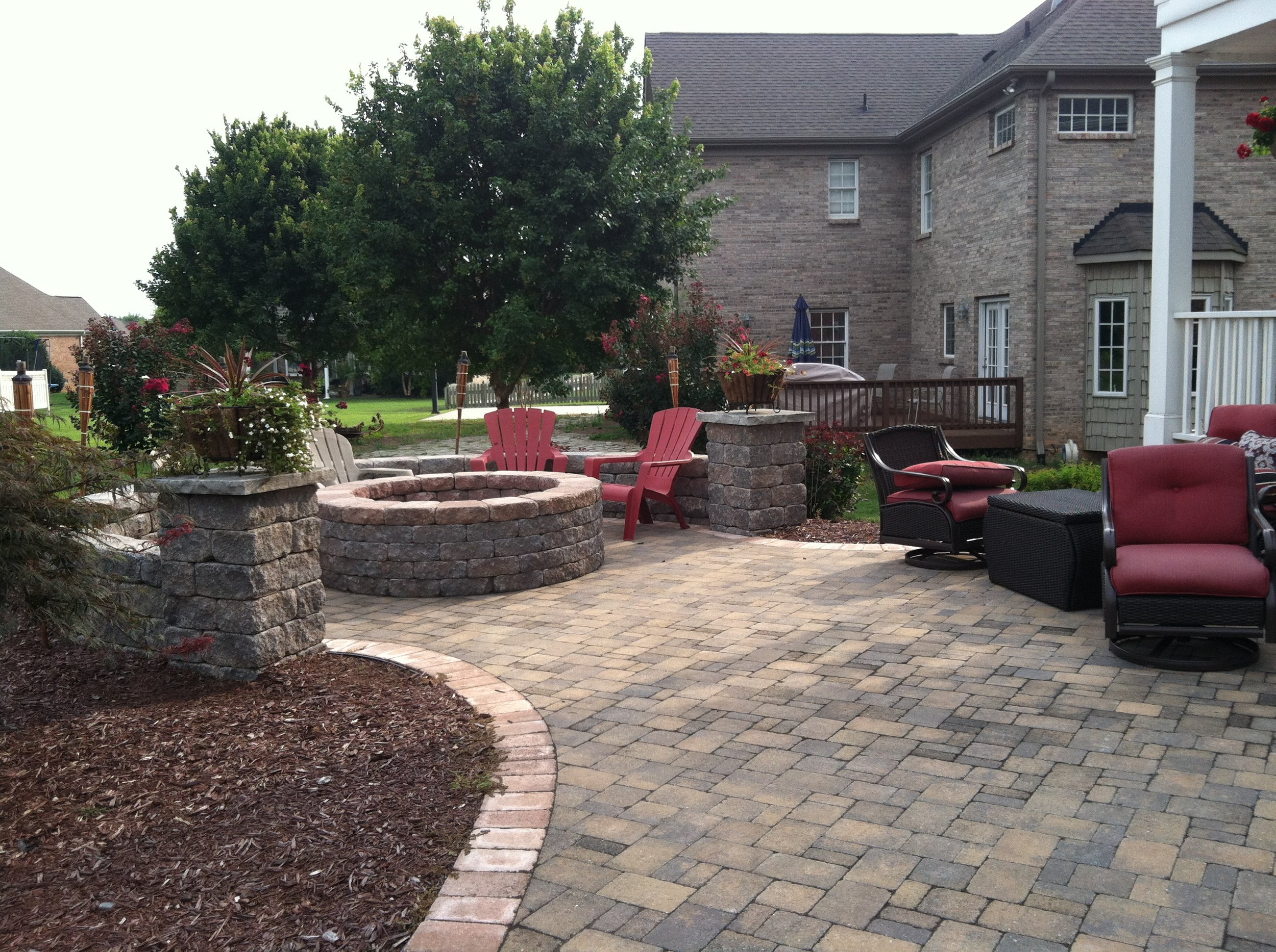Firepit and Seat Wall- 3D Landscape Design High Point, NC