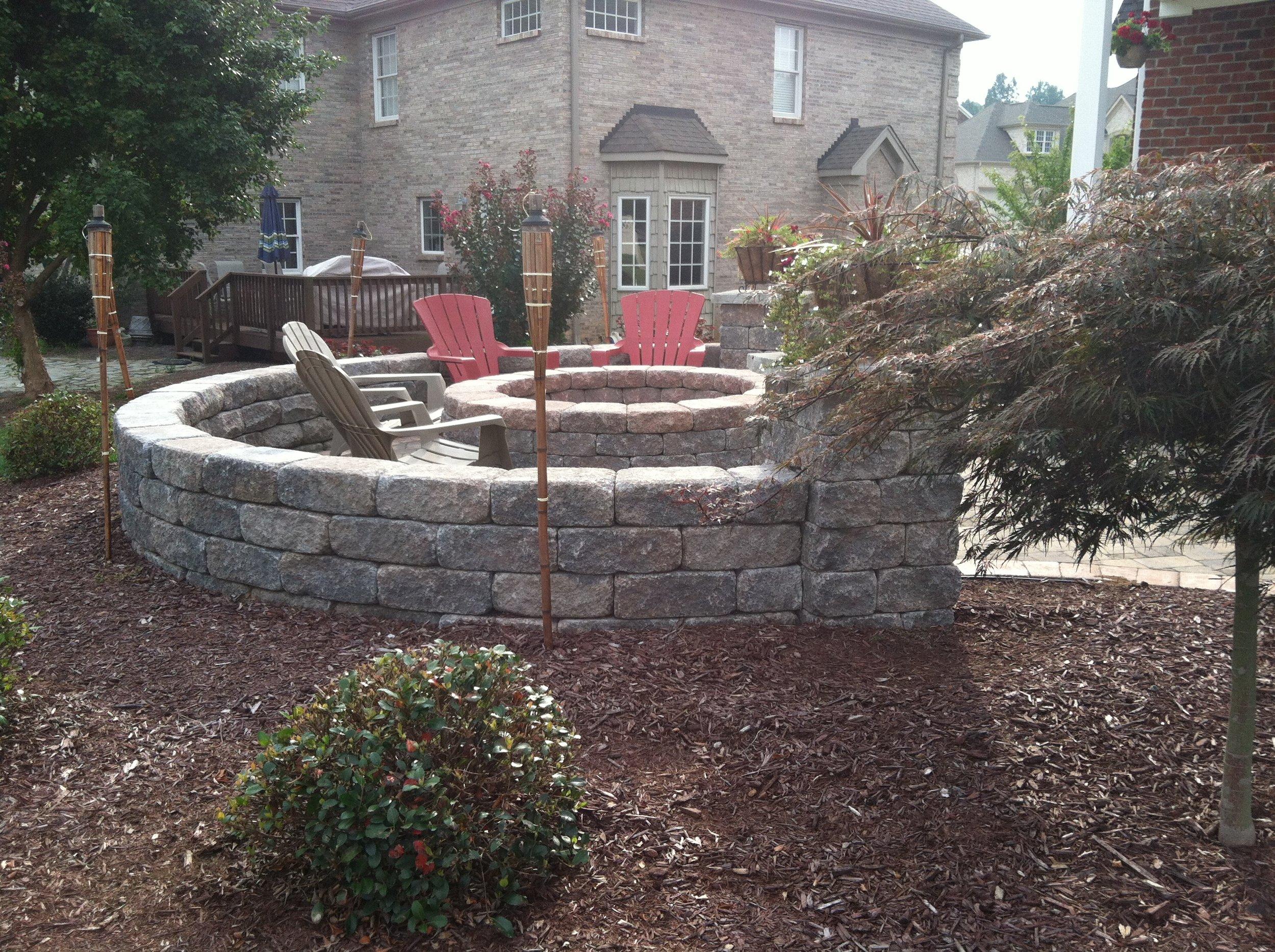 Firepit with Seat Wall- 3D Landscape Design High Point, NC