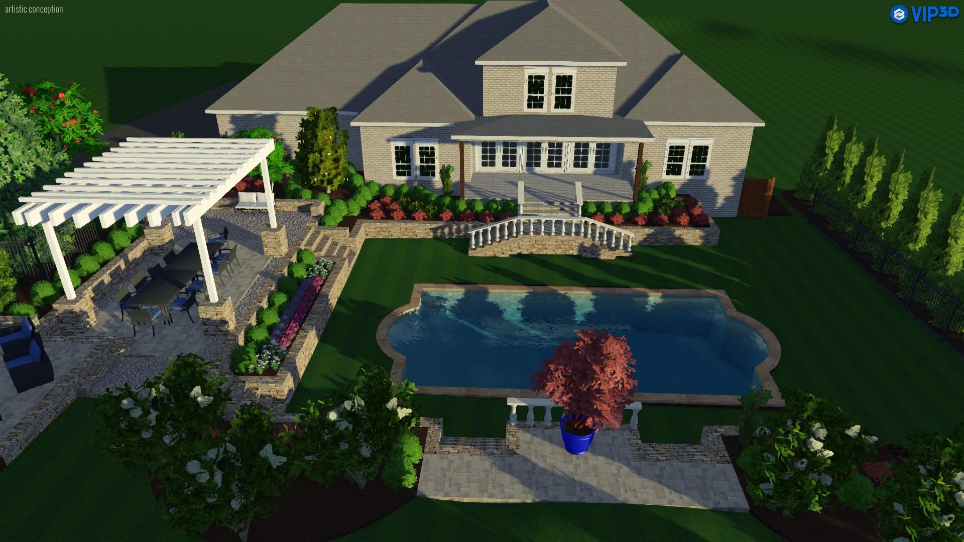 3D landscape design, pool with pool deck, pergola