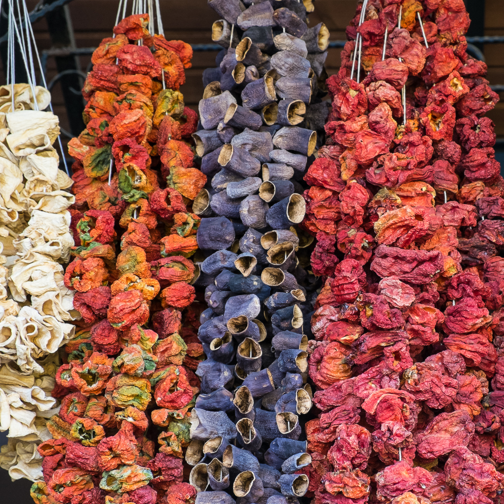 Dried eggplants and bell peppers, Antep, Turkey