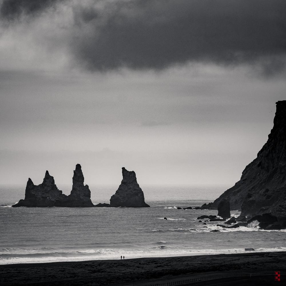 Reynisdrangar sea stacks from Vik, Iceland.
