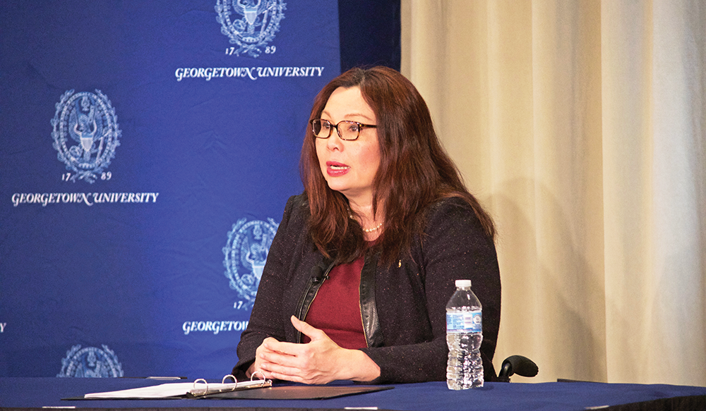 GUCD was excited to cosponsor this amazing event with the GU Lecture Fund to bring Senator Tammy Duckworth of Illinois to speak at Georgetown on the crisis with North Korea and overall Congressional attitudes toward the use of military force. Check out pictures of the board and Senator Duckworth on  Twitter . (Photo: LAUREN SEIBEL/THE HOYA)