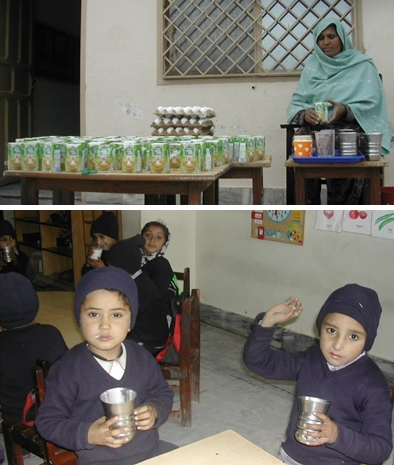 Children are given milk, eggs and fruit thricea week