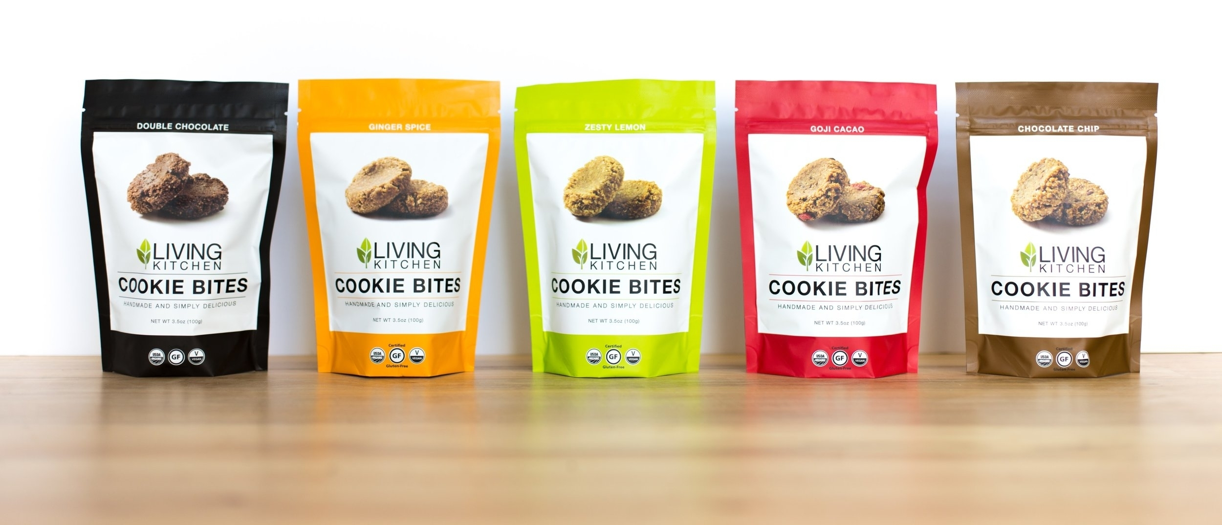 Try all five delicious flavors: Double Chocolate, Ginger Spice, Zesty Lemon, Goji Cacao, and Chocolate Chip