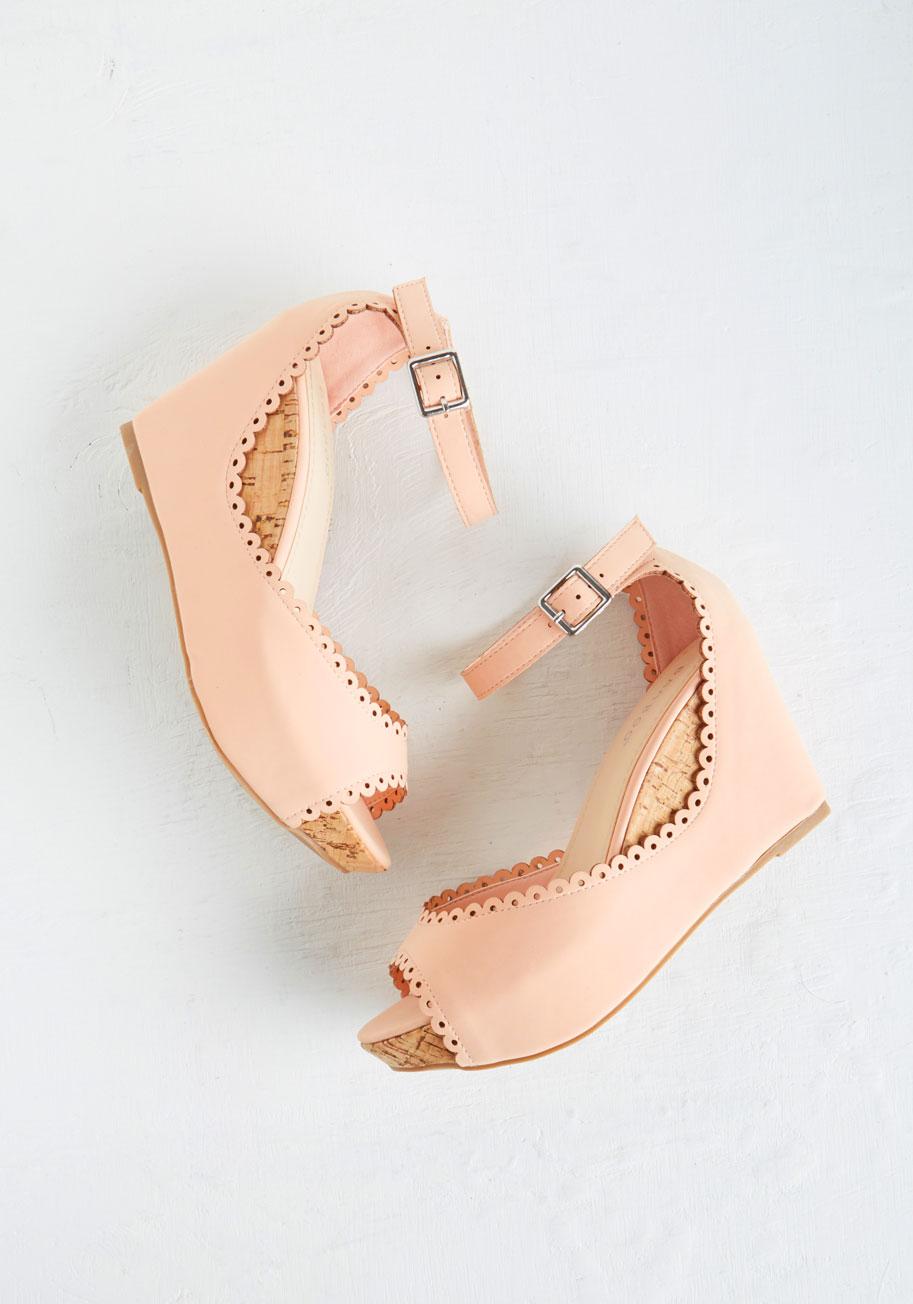 Pretty Pink Wedge Heels
