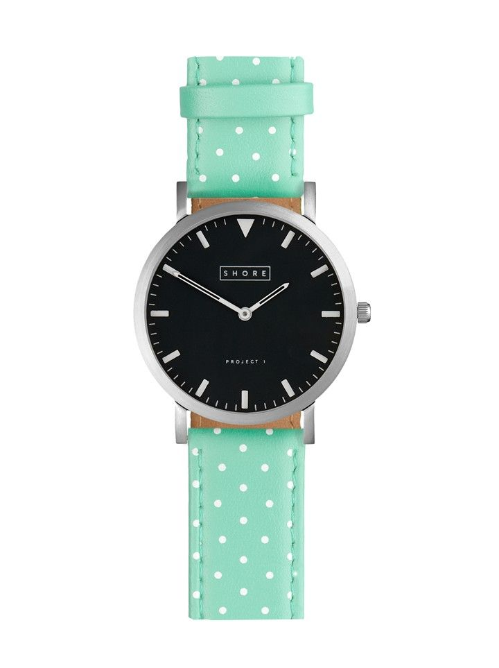 Mint and White Dot Watch