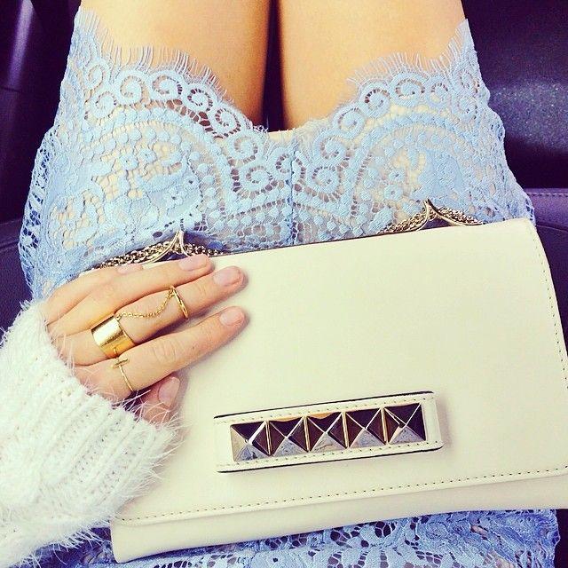 A Peek Of Pale Blue Lace + A Cute Purse