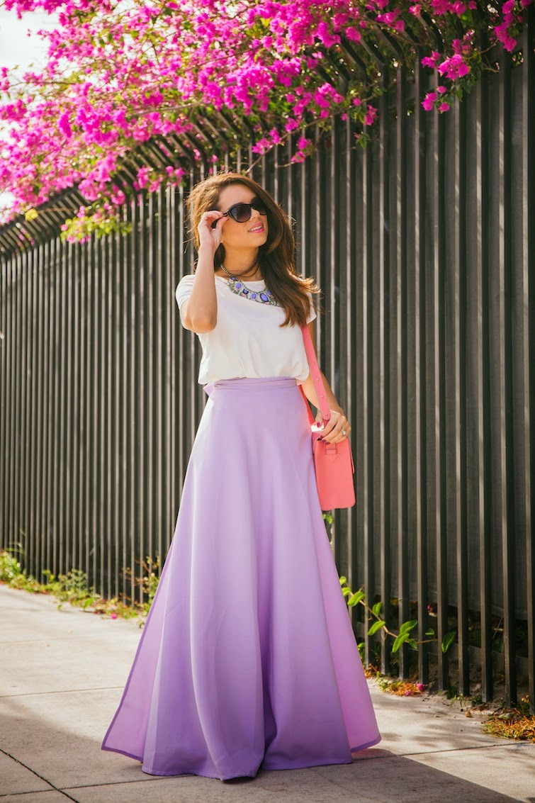 Lilac Maxi Skirt, White Tee, Statement Necklace
