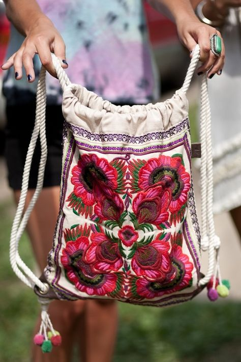Embroidered Drawstring Backpack Purse