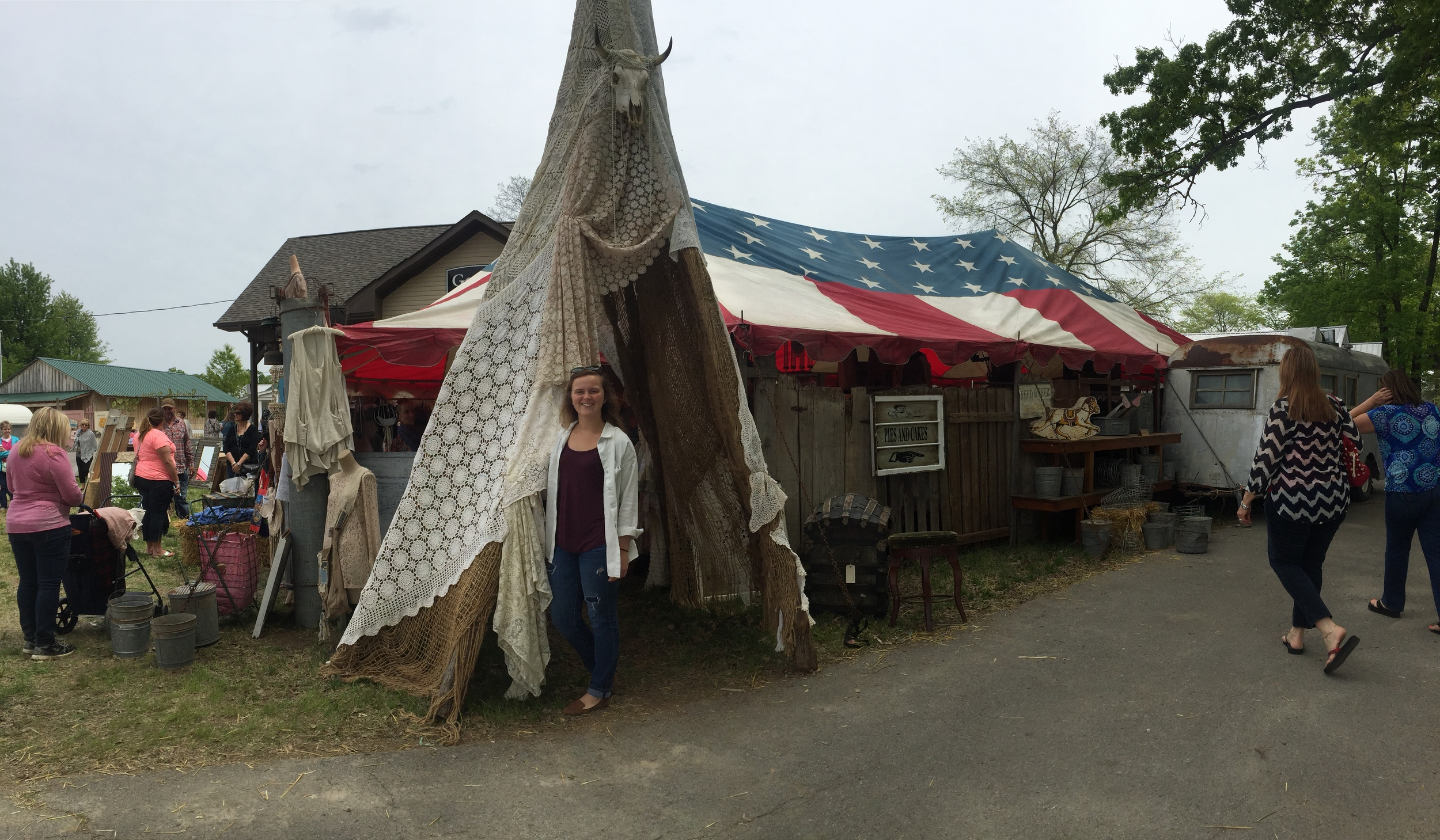 This booth, by  Spellbound Collections  (from Palmer, tX) was HUGE! I loved the teepee entrance, and the Americana vibe they provided. Inside the tent was a vast array of t-shirts, frilly clothing, home goods, cowgirl boots, and jewelry.  Check them out here.