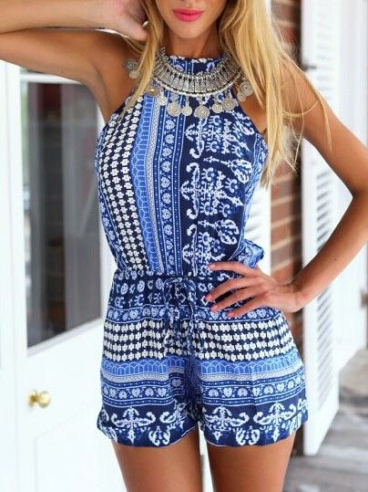 Bl ue and White Patterned Romper