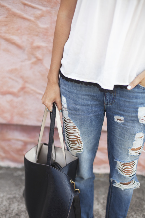 Perfectly Distressed Denim.  Found Here .