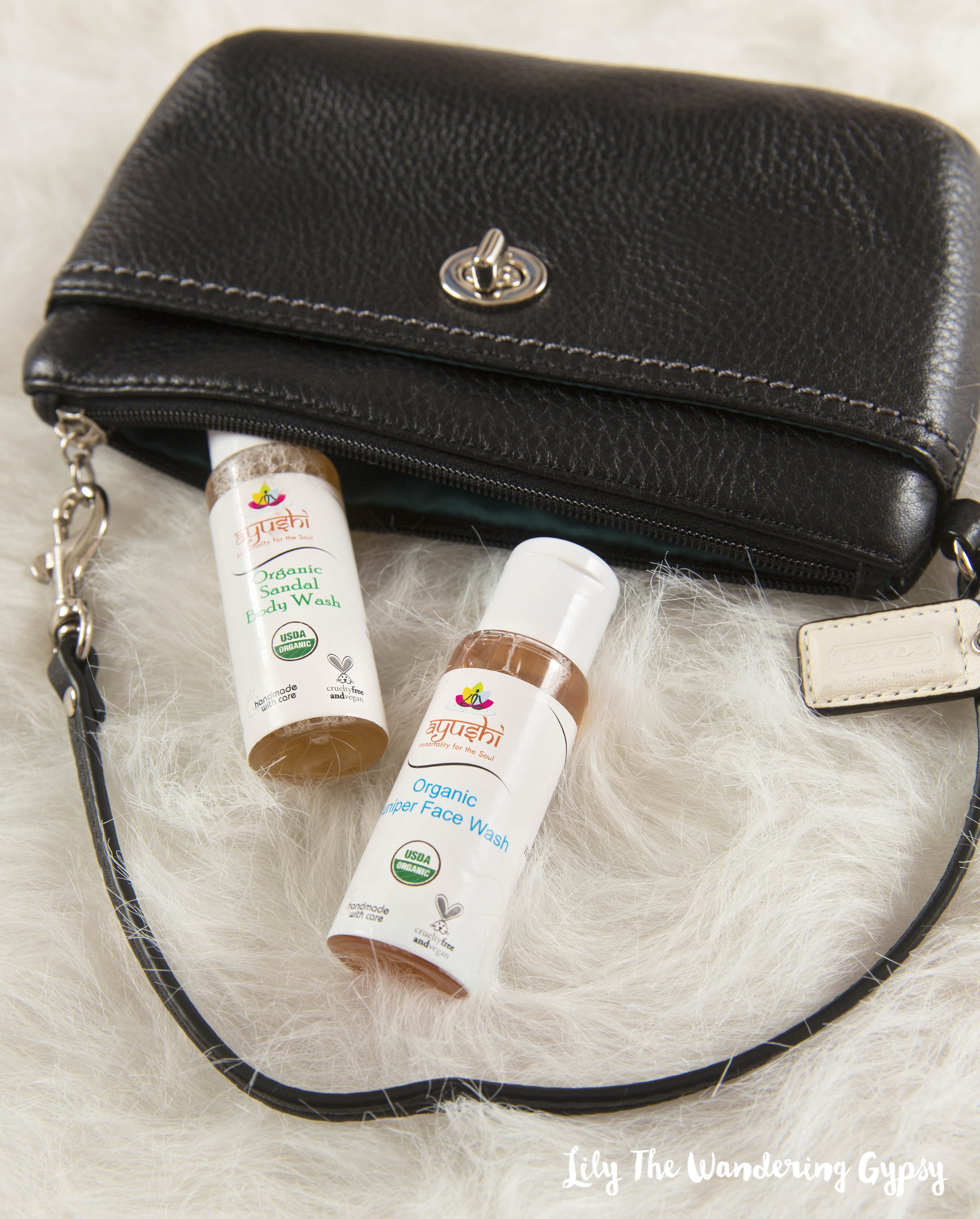 These Organic Body and Face Washes are the perfect size for travel if you're going somewhere for a long weekend. The Organic Sandal Body Wash has a strong sandalwood scent.