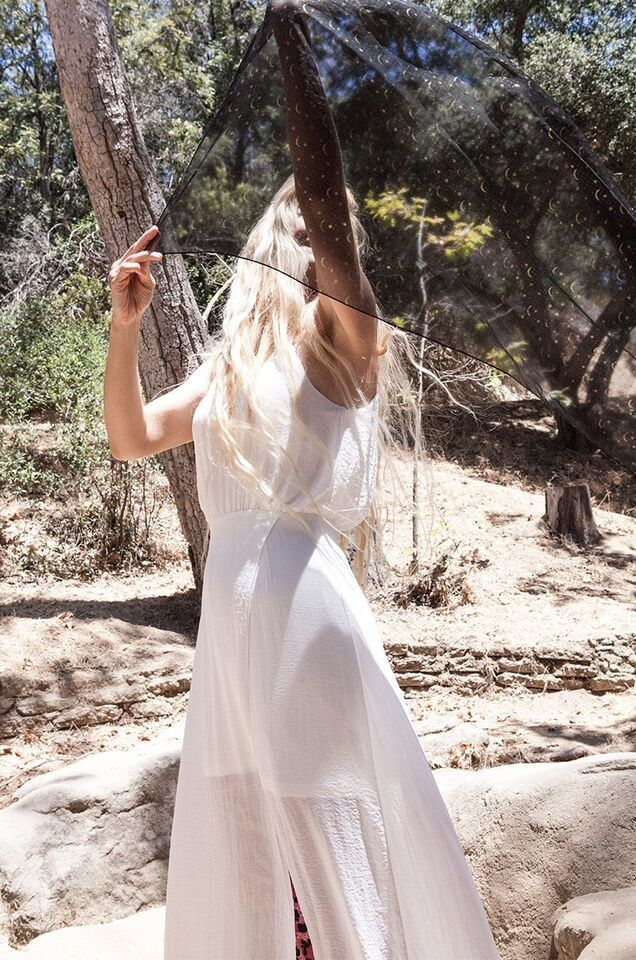 Boho Outfit - White Dress + Cosmic Scarf