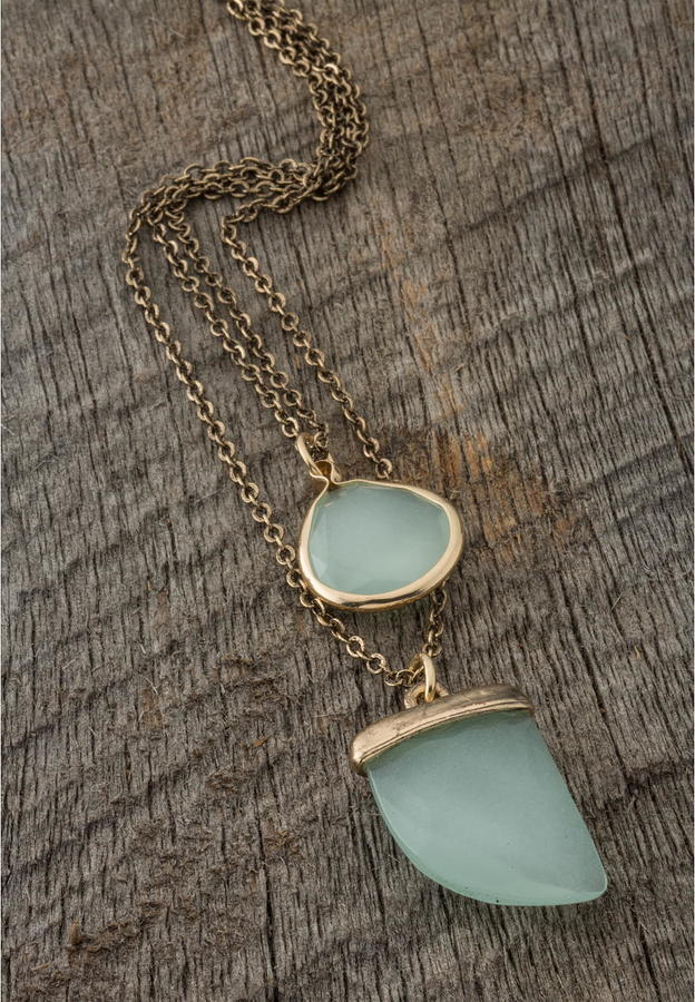 Mint + Bronze Necklace.  Shop Here