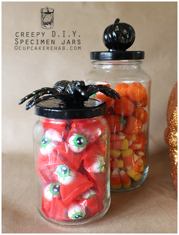 Here is a  DIY idea  I just love! If your guests have a sweet tooth, grab some Halloween candy for them to munch on while they party the night away.