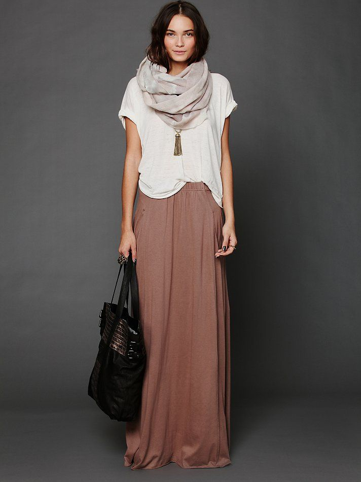 Cute Outfit - Tee, Scarf, Skirt, Purse