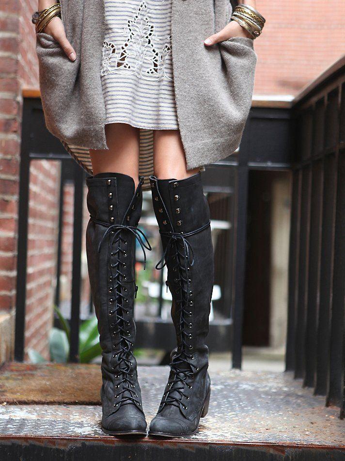 Grey Sweater, Striped Dress, Tall Black Boots