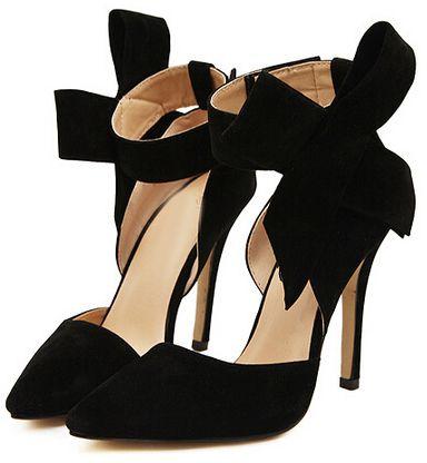 Black Bow Heels