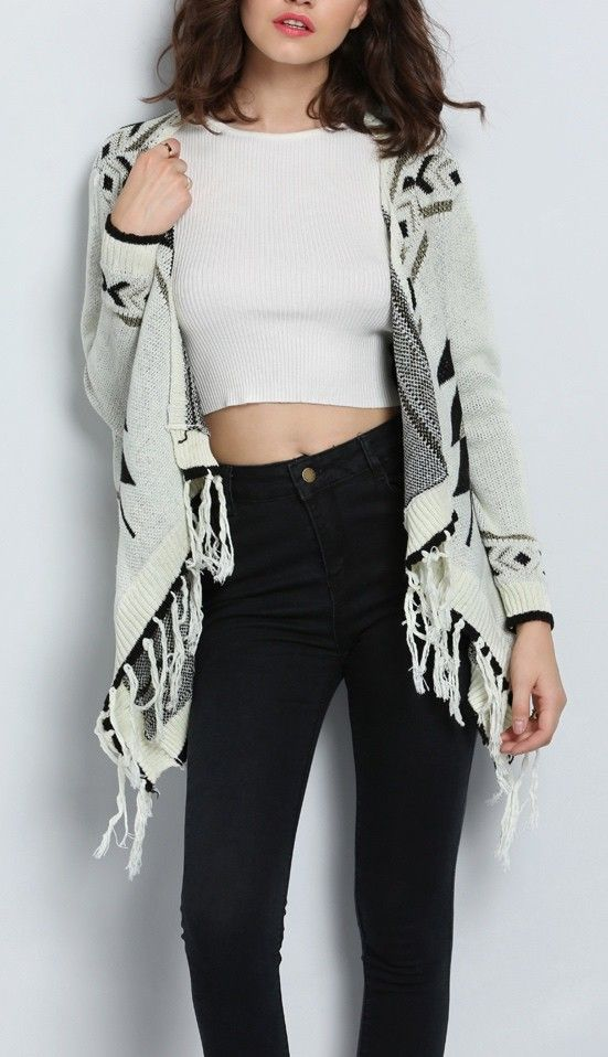 An ivory and white Aztec cardigan!