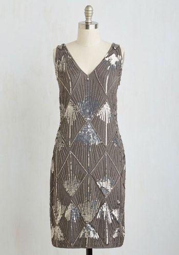 Grey Sequin Beaded Dress