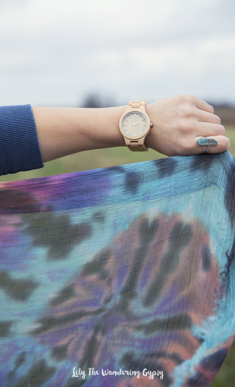 JORD Wood Watch + Brightly Twisted Tie Dye Scarf
