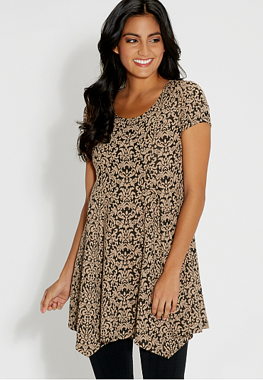 Short Sleeve Stretchy Patterned Dress - Found Here