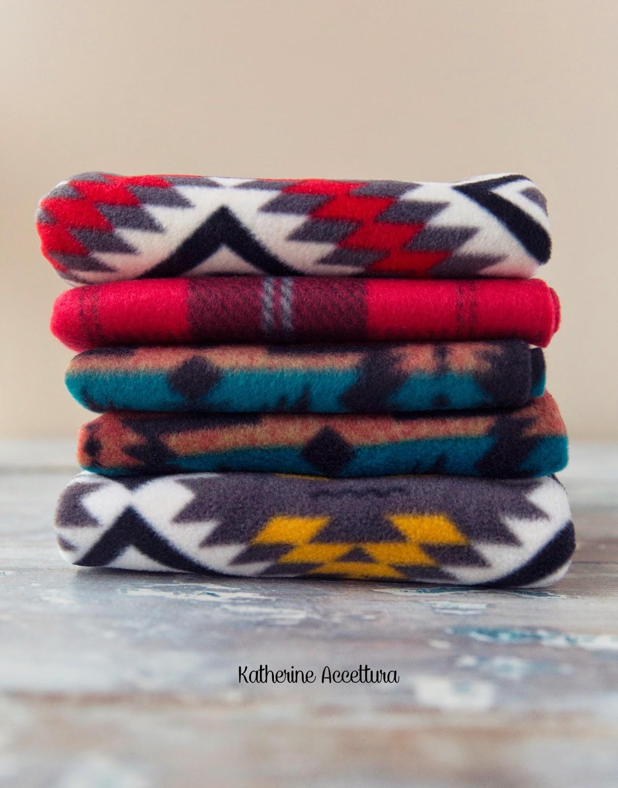 Choose your fleece fabrics! Hobby Lobby had some lovely fleece prints, and I know JoAnn's does too.