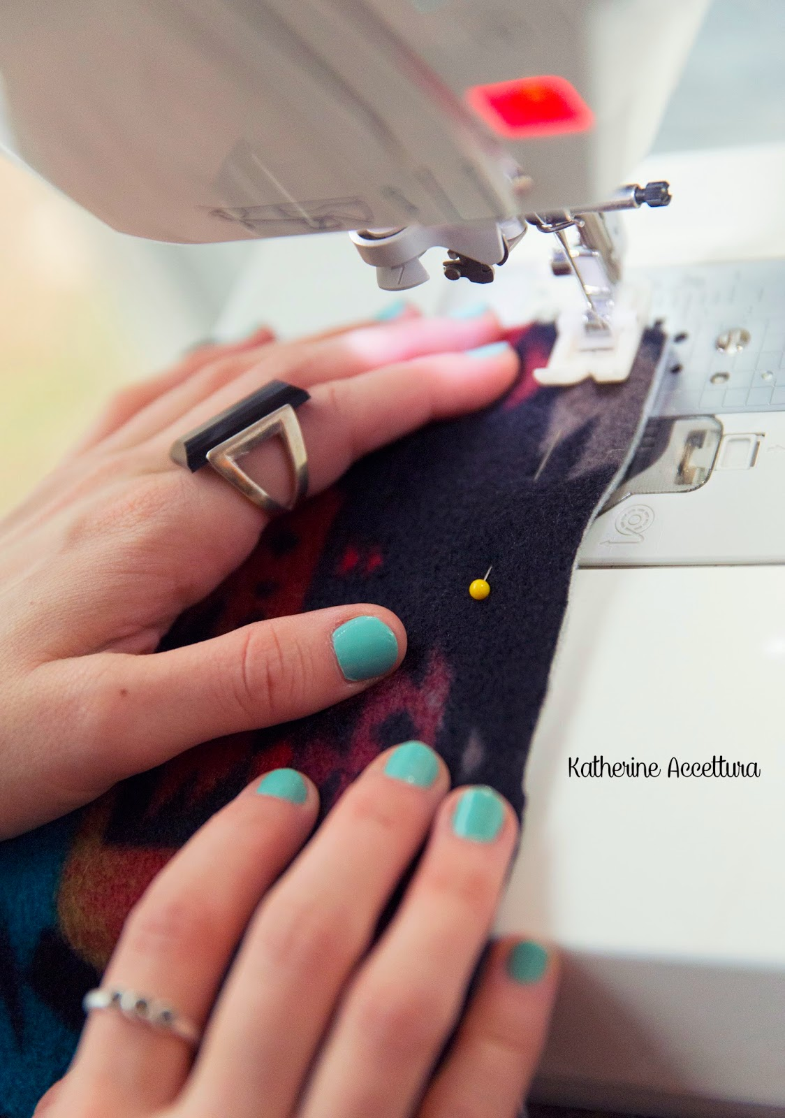 Sew up the sides, leaving a hole in one of the longer sides to turn the cowl right side out.