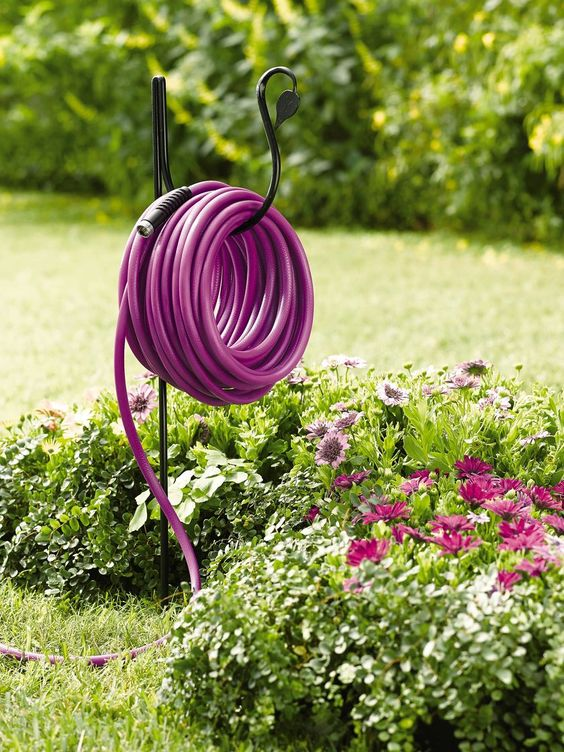 Purple Garden Hose + Holder