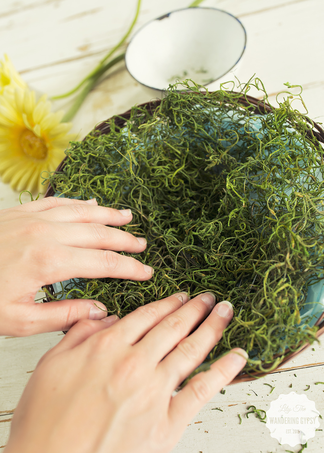 Add some moss to your gift basket for a rustic and Earthy look.