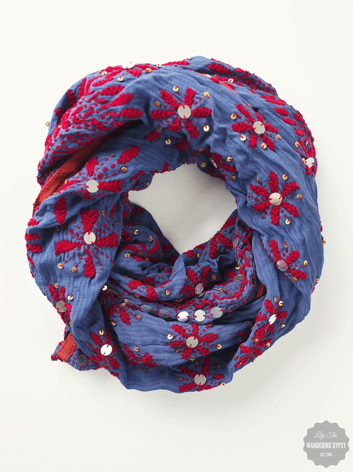 Embroidered & Sequined Scarf - Denim Blue