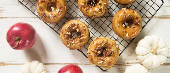Baked Apple Donuts Recipe - with Maple Bacon Pecan Glaze
